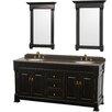 "Wyndham Collection Andover 72"" Double Bathroom Vanity Set with Mirror"