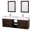 "Wyndham Collection Daniella 72"" Double Bathroom Vanity Set with Mirror"
