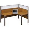 Bestar Pro-Biz Single Right L-Desk Workstation With 2 Melamine Privacy Panels and 2 Acrylic Glass Privacy Panels