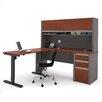 Bestar Connexion L-Shape Desk Office Suite with Hutch