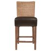 """Orient Express Furniture New Wicker Hampton 26"""" Bar Stool with Cushion (Set of 2)"""