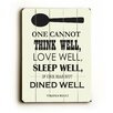 Artehouse LLC Dine Well by Amanada Catherine Textual Art Plaque