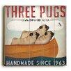 Artehouse LLC Three Pugs Canoe Wall Décor