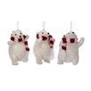 Regency International 3 Piece Glitter Polar Bear with Scarf Ornament Set