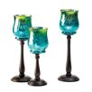 Malibu Creations 3 Piece Signature Series Metal/Glass Candlestick Set