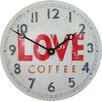 Roger Lascelles Clocks Love Coffee Convex Tin Clock