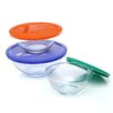 Pyrex Smart Essentials 6 Piece Mixing Bowl with Colored Lid Set