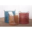 Transpac Imports, Inc Color Coded 3 Piece Bright's Metal Round Basket Set