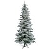 Vickerman Flocked Utica Fir 7.5' White Artificial Christmas Tree with 330 LED Multicolored Lights with Stand
