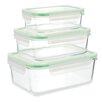 Kinetic Go Green Glassworks 6-Piece Series Square Oven Safe Glass Food Storage Container Set