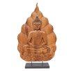 Asian Art Imports Decorative Large Buddha on Lotus Wood Carving