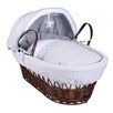 Clair De Lune Silver Lining Wicker Moses Basket