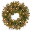 National Tree Co. Glittery Mountain Pre-Lit Spruce Wreath with 50 Battery-Operated White LED Lights