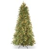 National Tree Co. Tiffany Fir 7.5' Green Slim Artificial Christmas Tree with 600 Pre-Lit Clear Lights with Stand