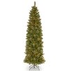 "National Tree Co. Tacoma 7'6"" Green Pencil Pine Artificial Christmas Tree with 350 Clear Lights and Stand"