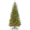 National Tree Co. Dunhill Slim Fir 7.5' Hinged Green Artificial Christmas Tree with 600 Clear Lights