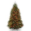 National Tree Co. Dunhill Fir 7.5' Hinged Green Artificial Christmas Tree with 750 Multicolored Lights