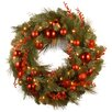 "National Tree Co. Decorative Pre-Lit 24"" Christmas Mixed Wreaths with 50 Battery-Operated White LED Lights"