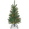 "National Tree Co. Kingswood 3"" Green Pencil Fir Artificial Christmas Tree with Multi-Colored Lights with Stand"
