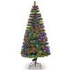 """National Tree Co. Fiber Optics Evergreen 6"""" Green Artificial Christmas Tree with 200 LED Multi Lights and Stand"""