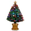 """National Tree Co. Fiber Optics Fireworks 36"""" Green Artificial Christmas Tree with Multicolor Lights with Base and Ornaments"""