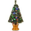National Tree Co. Fiber Optics 3' Green Artificial Christmas Tree with 50 LED Lights with Base