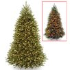 National Tree Co. Dunhill 7.5' Green Fir Artificial Christmas Tree with LED 700 Colored and Multi Lights with Stand