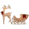 National Tree Co. Reindeer and Santa's Sleigh with LED Lights Christmas Decoration