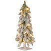"National Tree Co. 24"" White Snowy Downswept Forest Tree with Clear Lights"