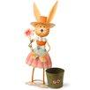 National Tree Co. Metal Rabbit Holding Flower Easter Decoration