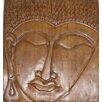 PapaTheo Schild Buddha's Gesicht auf Holz geprägt, Wandbild