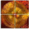 My Art Outlet Radiated Dahlia Desire 4 Piece Original Painting Plaque Set