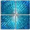 My Art Outlet Shimmering Blue Dahlia Desire 4 Piece Original Painting Plaque Set