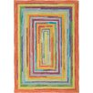 Company C Concentric Orange/Green Striped Area Rug