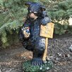 Wipe Your Paws Bear Statue - Size: 15.2 inch High x 8.2 inch Wide x 7.5 inch Deep - Design House Garden Statues and Outdoor Accents