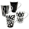 Konitz Black & White Assorted Mugs 4 Piece Set