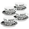 Konitz Coffee Bar 8 Piece Coffee Cup and Saucer Set