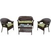 Winport Industries Garden Trellis All Weather Wicker 4 Piece Lounge Seating Group with Cushion