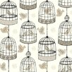 "York Wallcoverings Black and White Birdcage 27' x 27""  Wildlife Wallpaper Roll Wallpaper"