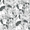"York Wallcoverings 27' x 27"" Leaf Outline Floral Wallpaper"