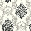 "York Wallcoverings Black and White Ogee 27' x 27""  Damask Embossed 3D Roll Wallpaper"
