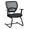 """Office Star Products Space Seating 18.5"""" Professional AirGrid Back Visitors Chair with Eco Leather Seat"""