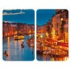 Wenko 52cm Glass Cover Plate in Venice By Night (Set of 2)