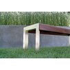 Modern Outdoor Etra Small Wood and Stainless Steel Bench