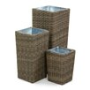 Maze Rattan Winchester 3 Piece Square Planter Set