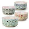 Signature Housewares Print 8 4-Piece Microwave Storage Serving Bowl Set