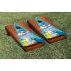 Victory Tailgate Margarita Beach Themed Rosewood Stained Triangle Version 2 Cornhole Game Set