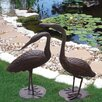 Birds of a Feather 2 Piece Crane Statue Set - Deeco Garden Statues and Outdoor Accents