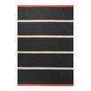 EspritHome Simple Stripe Handwoven Black Rug