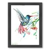 Americanflat Humming Bird and Flowers by Suren Nersisyan Framed Painting Print